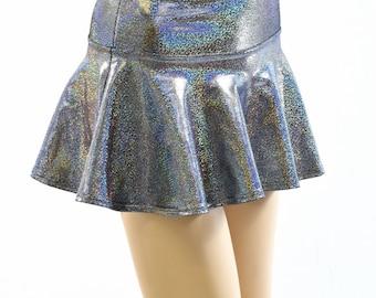 Silver Holographic Metallic Circle Cut Mini Skirt Rave Festival Clubwear EDM  -152198