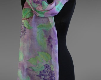 Chiifon scarf with lilac flowers. Lilac silk scarf hand painted. Made to order.
