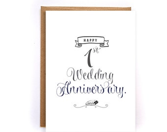 1st anniversary card, paper anniversary cards, handmade greeting cards, cards for husband, cards for wife, anniversary gifts for him GC29