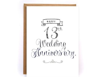 13th Wedding Anniversary Gift For Husband : ... cards for husband, lace anniversary gift for him, for man GC79