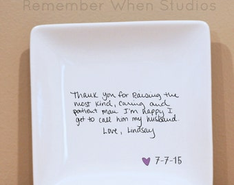 "4"" x 4"" Handwritten Letter Mini Plate : Wedding or Christmas gift.Thank you mom, mother of bride, wedding thank you mom and dad"
