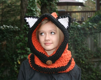 FREE SHIP Red Fox Hooded Cowl  -  All Sizes Available
