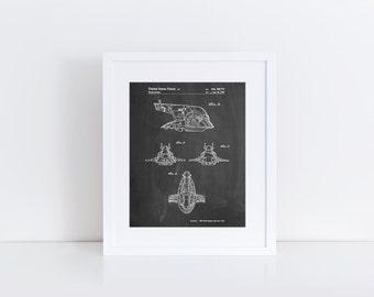 Star Wars Slave One Patent Poster, Empire Strikes Back, Star Wars Decor, Starwars Nursery, Movie Wall Art, Star Wars Ships, PP0022
