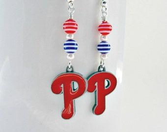 Philadelphia Phillies Baseball Earrings, Philadelphia Phillies Jewelry, Philadelphia Phillies Earrings, Phillies Earrings, Phillies Jewelry