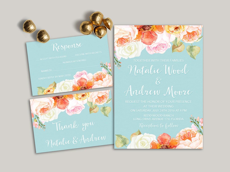 Summer Wedding Invitations: Summer Wedding Invitation Printable Floral Wedding