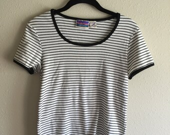 90's Black and White Striped Tee