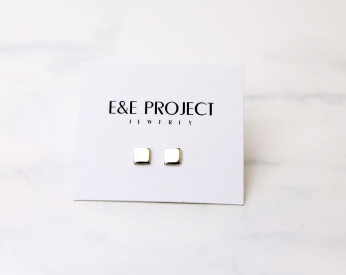Square Earrings // Geometric Shape Stud Earrings  // Dainty Silver Stud // Gift for Her