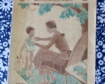 Nouveaux Lainages magazine - May 1933 knitting & crochet patterns - French 30s vintage