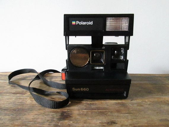 vintage 1980s polaroid sun 660 auto focus instant film land. Black Bedroom Furniture Sets. Home Design Ideas