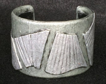 Cuff Bracelet Bangle Distressed Boho Polymer Clay Mid Century Modern Jewelry Women ANGEL WINGS by ArtCirque Donna Pellegata