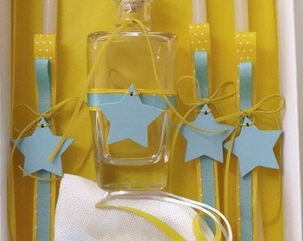 Oil set / Ladoset for baptism with wooden stars