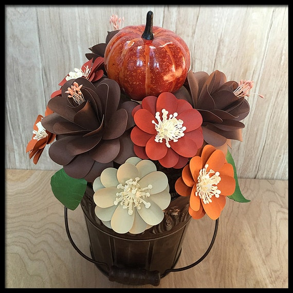 Thanksgiving centerpiece paper flower by flowergirlstacy