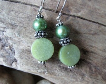 JUNE SALE!!! 10% Off!  Olive Jade Disks and Green Pearl with Sterling Silver Dangle Pierced Earrings