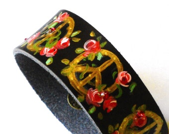 Boho Peace Sign Bracelet FREE SHIPPING Hand Painted Roses Bohemian Jewelry