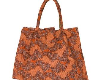 KANTHA Bag - Large - Orange with black and white flower motif