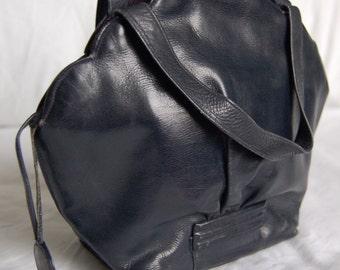 RESERVED Vintage navy blue leather handbag