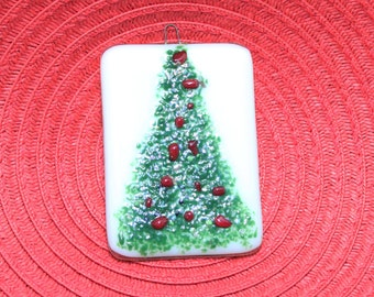 Fused Glass Ornament - Christmas Tree Ornament - Fused Glass Christmas Tree - Holiday Ornament