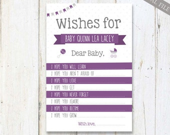 Baby Shower Wishes for Baby - Plum Purple Baby Shower Game Printable - diy - DIGITAL FILE!