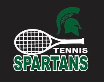 Spartans Tennis Car Decal Sticker- Free Shipping
