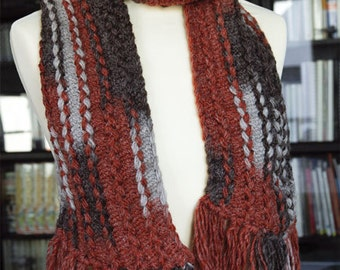 Crochet knitted Fringed Scarf, Wool Acrylic blend 165x15cm (65x5.9in), Warm Soft, 3 gradients to choose from