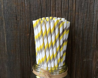 100 Yellow, Gray and White Striped Straws, Birthday, Shower Supply