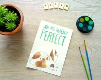 Je Bent Perfect, Waterverf Schilderij Konijn, Motiverende Tekst, Originele Illustratie, A5 Schilderij, Kinderkamer, Vrolijke Woonaccessoire