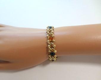 Gemstone Link Bracelet Gold Link Bracelet 7 Inch Gold Bracelet Citrine Emerald Garnet Sapphire Rhinestone Vintage Bracelet Jewelry