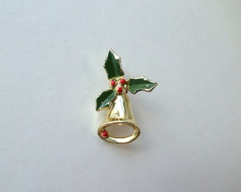 Christmas Brooch Pin Holly Pin Jingle Bell Brooch Scarf Pin Green Red Gold Bell Pin Holly Leaf Pin Vintage Christmas Brooch Pin Jewelry