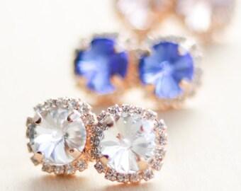 Bridesmaid Earrings - Rose Gold Swarovski Halo Stud - Bridesmaid Jewelry - Post Earrings - Crystal Earings - Bridesmaid Gift