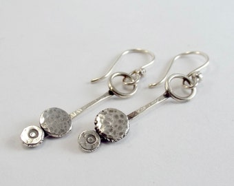 Petite Rustic Forged Silver Earrings with Hammered Sterling Circles