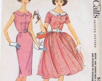 1960s Dress Pattern Scoop Neck Shirtwaist Dress with Slim or Full Skirt // Vintage Sewing Pattern // McCall's 5369 Size 16 Bust 36