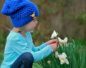 Royal Blue Slouchy Hat for Girls OR Boys, Embellished with a Cute Monster Button, FREE U.S. Shipping