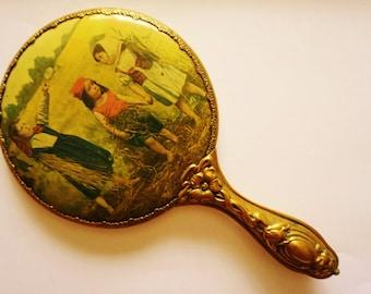 Antique Vintage Victorian Art Nouveau Portrait Farm Children Celluloid Hand Mirror