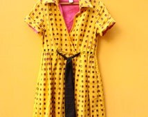 Yellow Window Short Sleeve Wrap Dress *FREE SHIPPING* //Vintage Collared Retro Diane von Furstenberg Linen Medium Dress Pink Black
