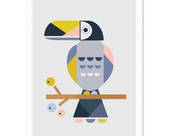 Toucan Art Print, Nursery art, kids art, kids wall art, nursery decor, scandi art, girlsroom art, kidsroom art.