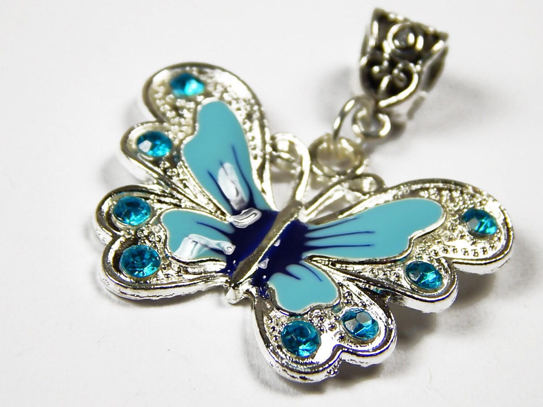 Blue Butterfly Jewelry: 1x Large Blue Butterfly Pendant Dangle Charm Enamel Charm
