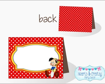 Pinocchio Party Table Tents / Food Labels / Place Cards - Royal Blue Yellow & Red - Instant Download FILE to PRINT