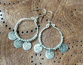 Boho Silver Hammered Hoop Earrings with Silver Stamped Charms, Bohemian, Stamped Coins, Boho Hoops, Dangle Charm Earrings, Long Earrings