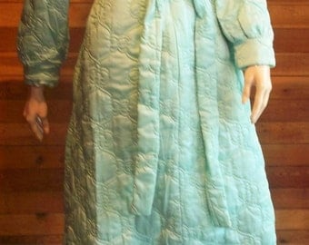 Vintage Lingerie 1970s SEARS BEST At Home Wear Sz 16 Aqua Quilted Robe or Housecoat ~ Orig Tags.