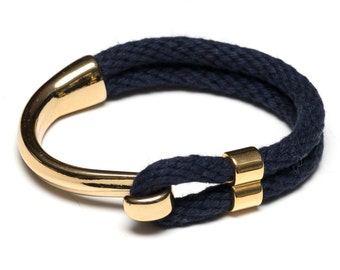 Nautical Rope Bracelet / Navy Blue Rope Bracelet / Gold Half Hook Clasp Bracelet / Nautical Jewelry / Summer Bracelet / Nautical Gift