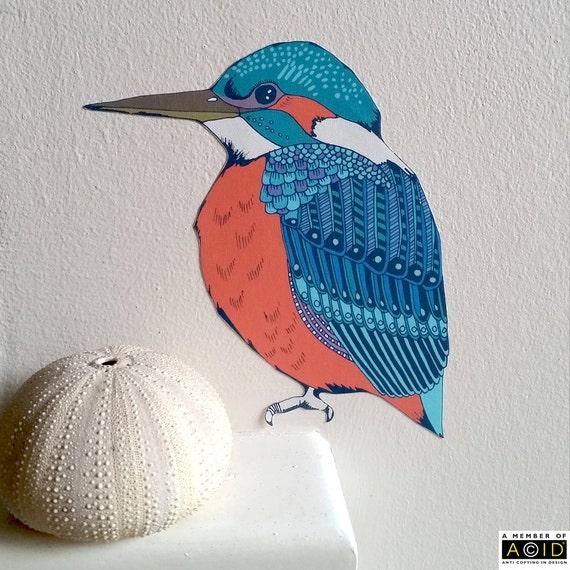 Martin p cheur mur autocollant oiseau sticker mural mur for Autocollant mural francais