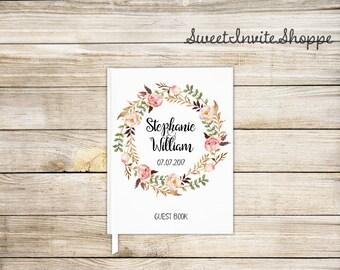 Floral Wreath Wedding Guest Book, Custom Wedding Guest Book, Bridal Shower Guest Book, Gift For Couples, Rustic Guest Book, Boho Book