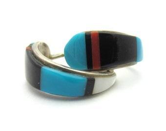Southwestern Multi-Gemstone Half Hoop Earrings Sterling Silver