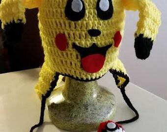 Pikachu character hand made crochet beanie
