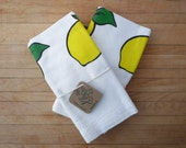 Tea Towel Set - Lemons and Cherries Slot Machine Illustration - Green, Yellow, Red, and Black - Foodie Gift, Summer Fruit, Ready to Ship