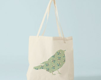 Mint Floral Bird Tote Bag, canvas bag, cotton bag, ecofriendly bag, groceries bag, canvas shopper, novelty gift for coworker, gift women.