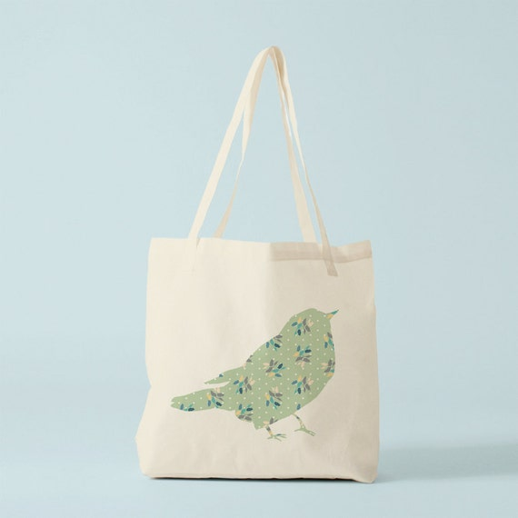 Mint Floral Bird Tote Bag, canvas bag, cotton bag, ecofriendly bag, groceries bag, canvas shopper, novelty gift for coworker, gift women.