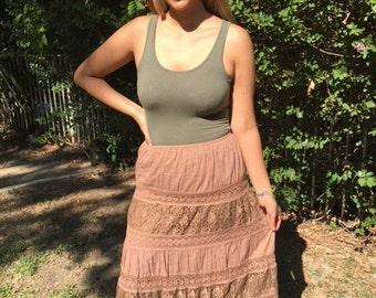 Peasant skirt,long cotton lace skirt,large,L,Tan skirt,boho skirt