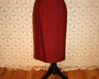 80s Silk Wool Skirt Women Medium Houndstooth Plaid Red Skirt Midi Pencil Skirt Carlisle Size 10 Skirt Vintage Clothing Womens Clothing