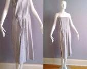 Vintage ACNE Minimalist Striped Dress ~ Avant Garde Structured Cotton Tube ~ Strapless Modern Midi Shift